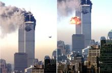 Fotomontage som viser angrebet på World Trade Center i New York 11. september 2001.